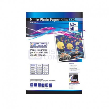 Papel Photo Matte 220gr Doble faz A3+ x100 Hojas
