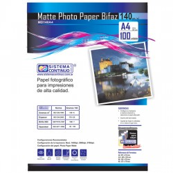 Papel Photo Matte 140gr Doble faz A4 x100 Hojas